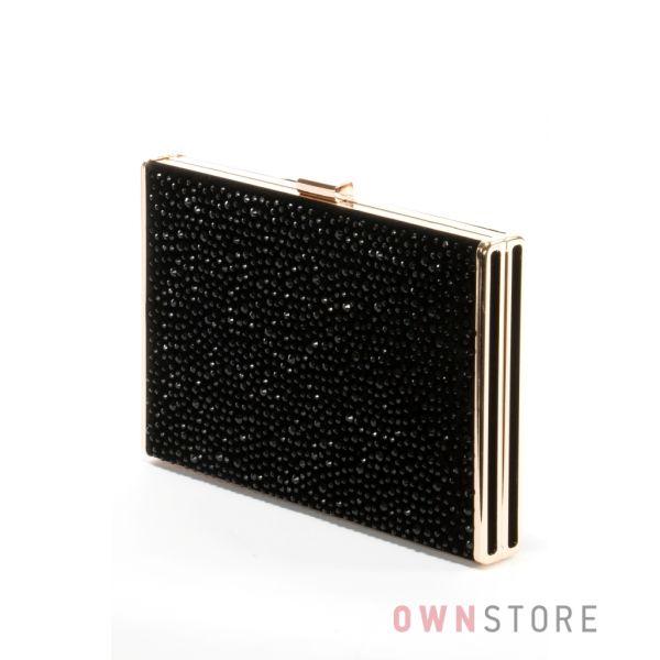 48607f6e33f2 Купить сумку-клатч женскую Rose Heart замшевую со стразами черную - арт.0994