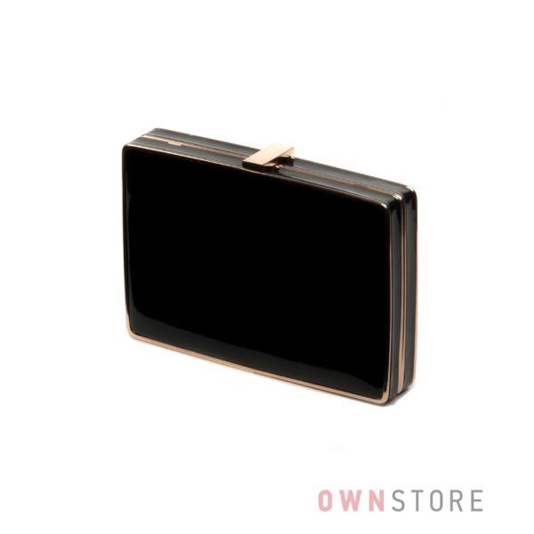 56d5456de541 Купить клатч-коробку черный лаковый Rose Heart онлайн в интернет-магазине -  арт.