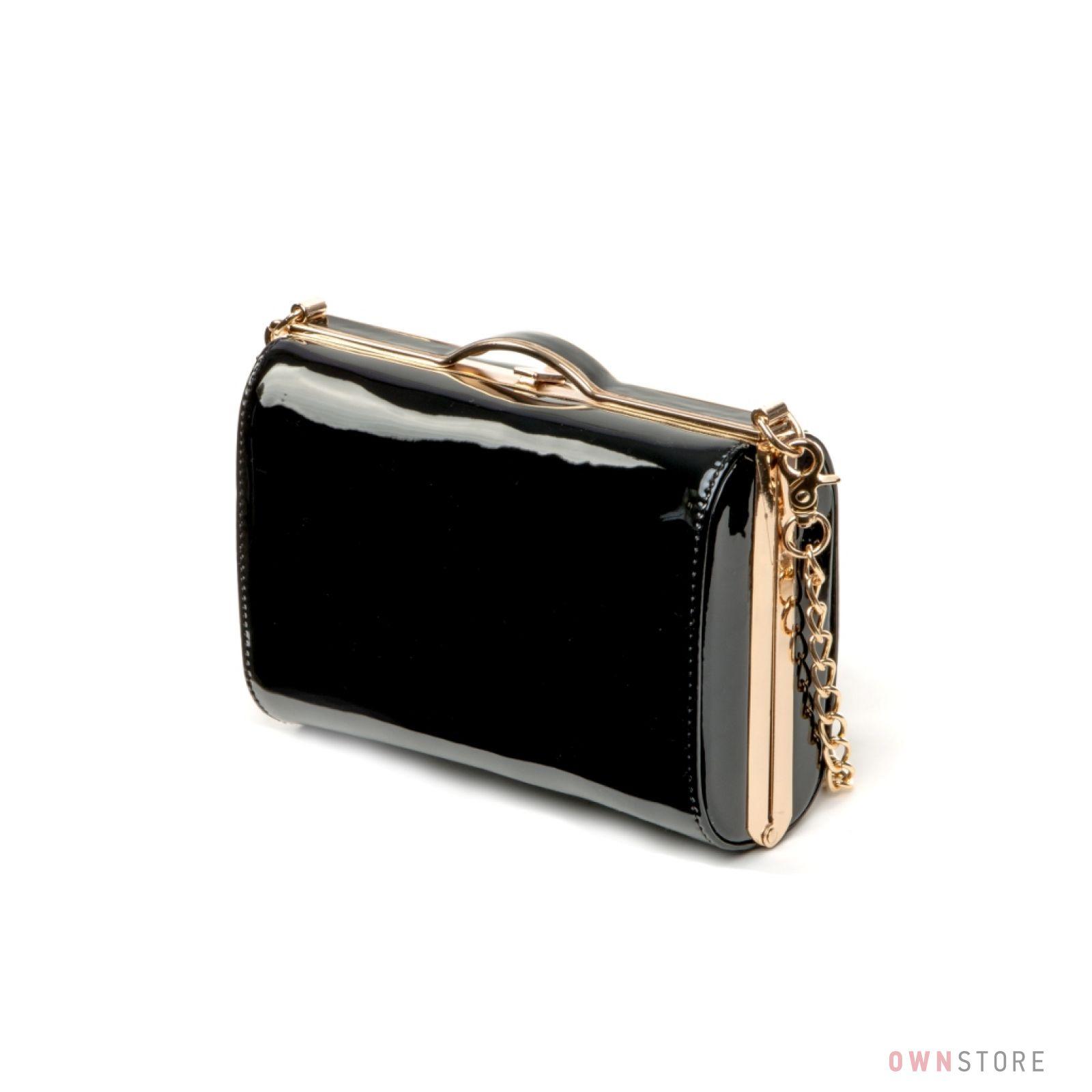 bf4ddb1c635b Женская лаковая сумка - клатч на цепочке от Rose Heart черная