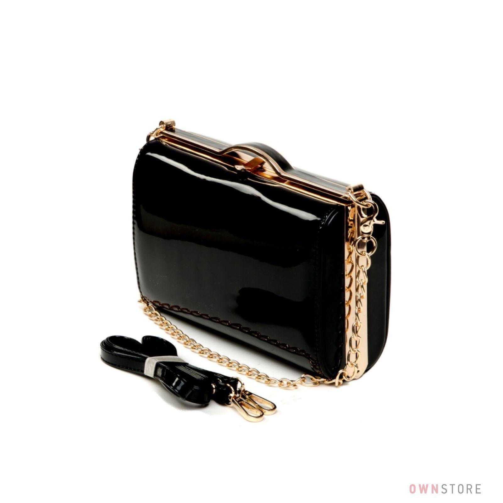 36c52ff6e7ce Женская лаковая сумка - клатч на цепочке от Rose Heart черная
