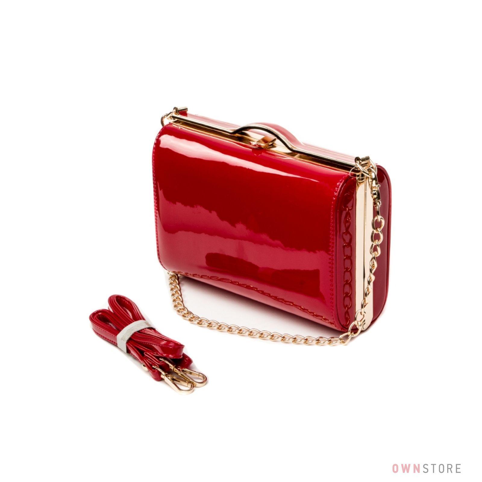95698a6347ea Женская сумка-клатч красная лаковая от Rose Heart на цепочке