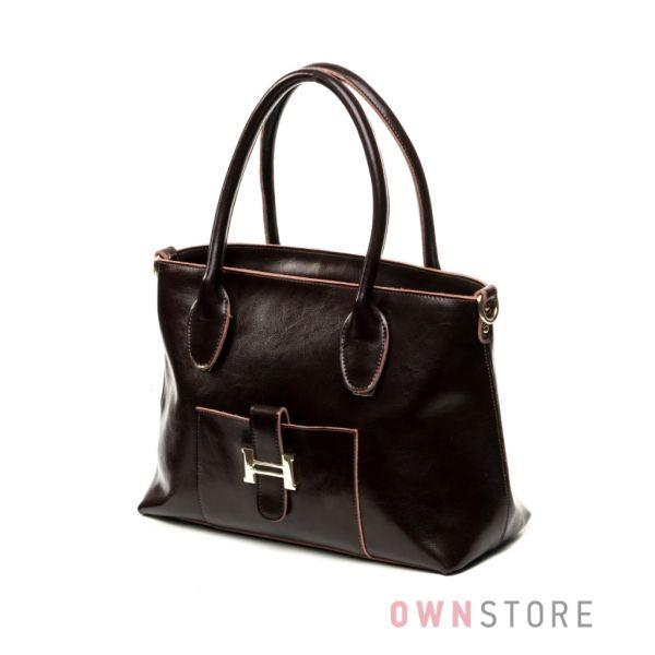 62bfc6eaac57 Купить сумку женскую кожаную коричневую от Meglio с карманом - арт.8581