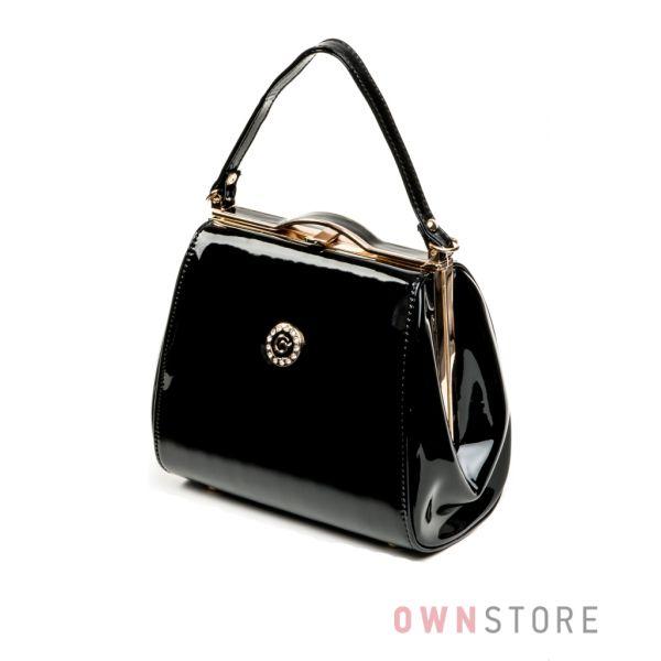 4ab95289e585 Купить маленькую женскую лаковую сумочку поцелуй черную от Rose Heart -  арт.8651_1