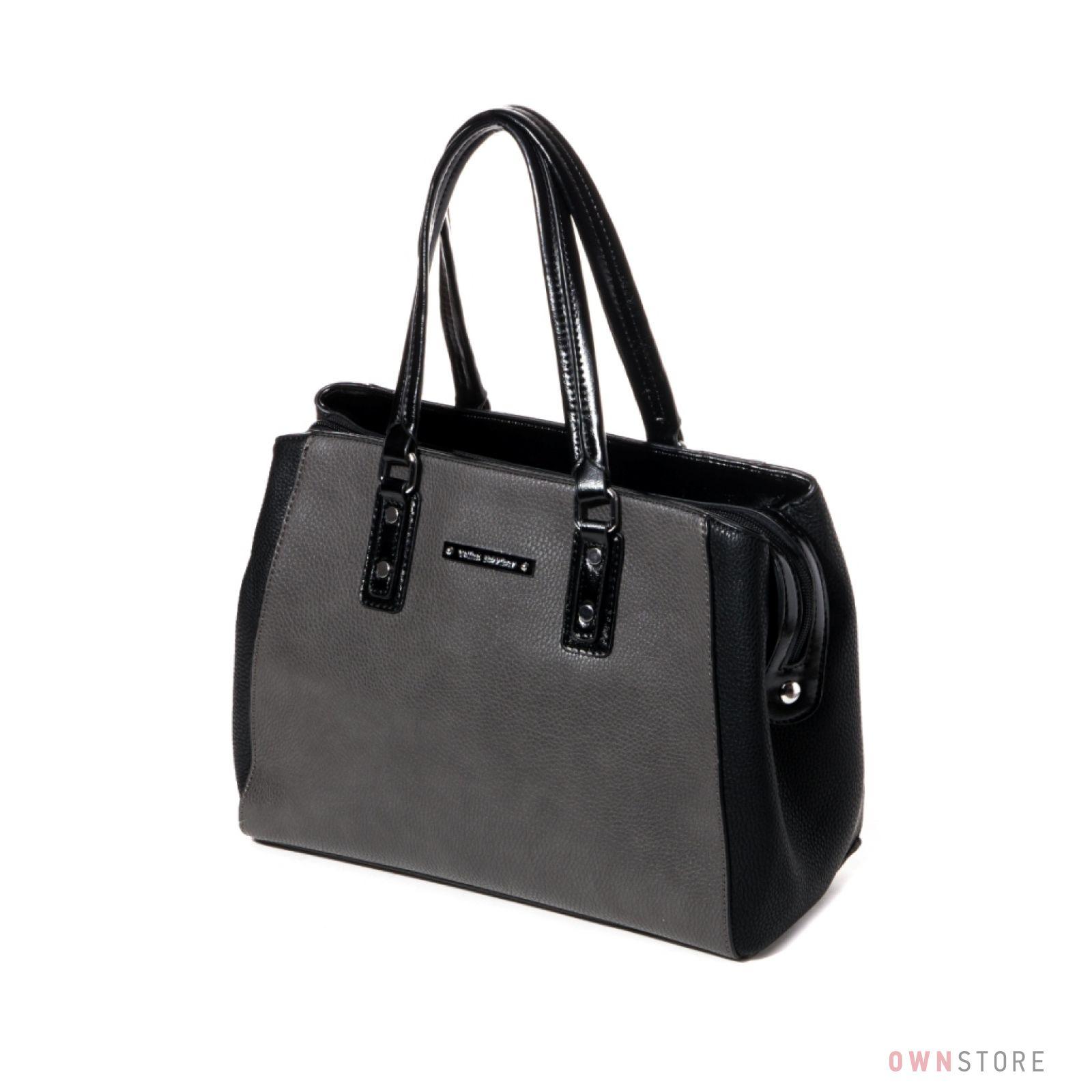 9845b408a7d4 Купить сумку женскую черно-серую из кожзаменителя Велина Фабиано онлайн -  арт.551134