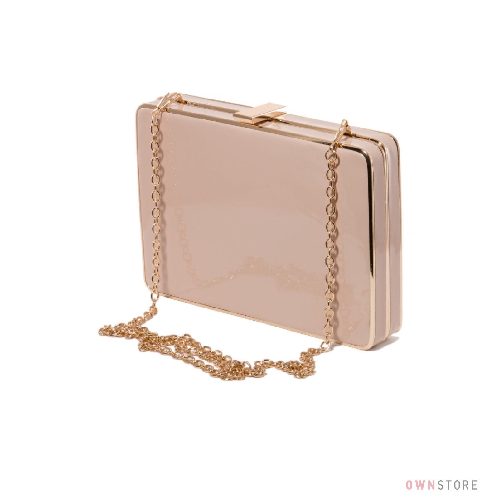 fa0619642a8f Клатч-коробка женский бежевый лаковый Rose Heart на цепочке