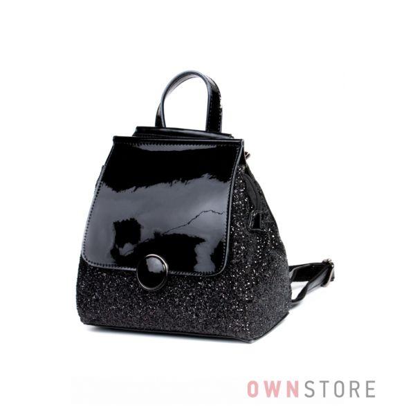 6ac4ce0f4ebf Купить рюкзак женский с кожаным клапаном инкрустированный блестками Велина  Фабиано - арт. 571192-20