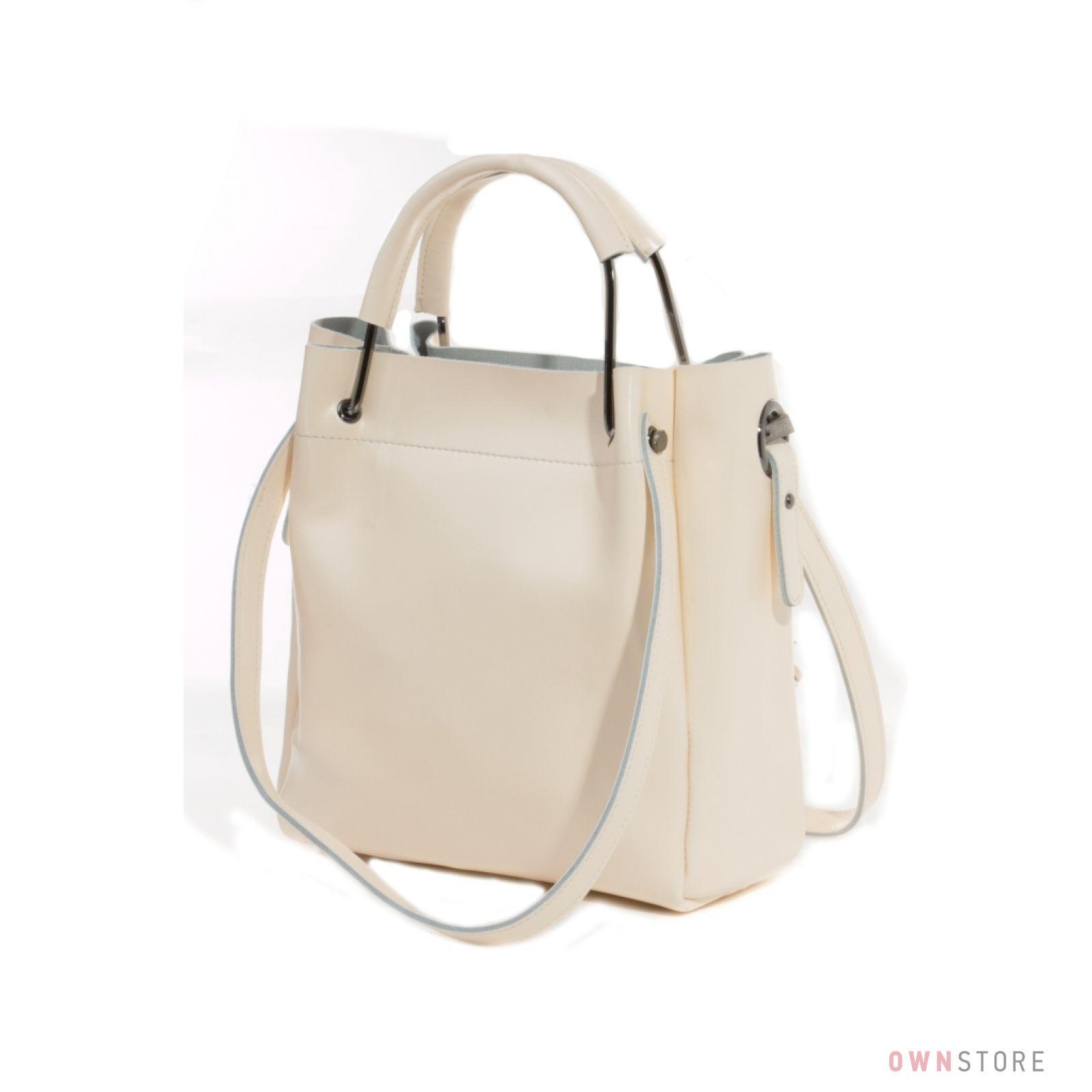 Женская кожаная кремовая сумка с двумя парами ручек от Farfalla Rosso 0fbd6d80d05