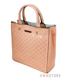 7bba68e2789c Купить сумку женскую кожаную лакированную в мелких заклепках персиковую от Велина  Фаббиано - арт.35566