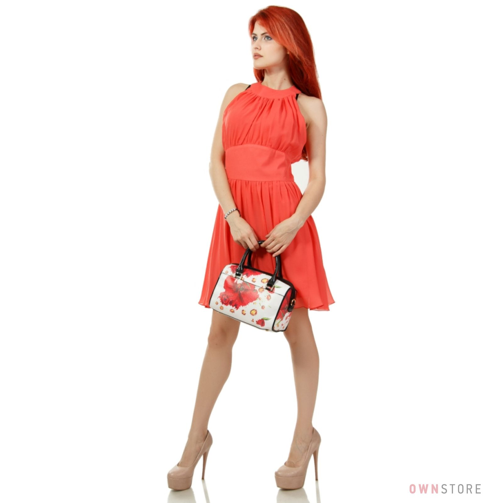 d28afa49a6cd Женская сумка-саквояж от Velina Fabbiano небольшая с ромашками