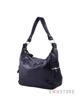 436490c3da2e Купить онлайн сумку женскую из черного лазера с карманами по бокам -  арт.6005