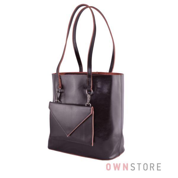f2eaab449e91 Купить онлайн сумку женскую из кожи со съемным карманом коричневую - арт.75