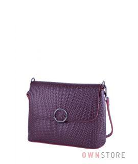 1529dc0173b9 Купить онлайн кожаную бордовую женскую сумочку с имитацией плетенки -  арт.753