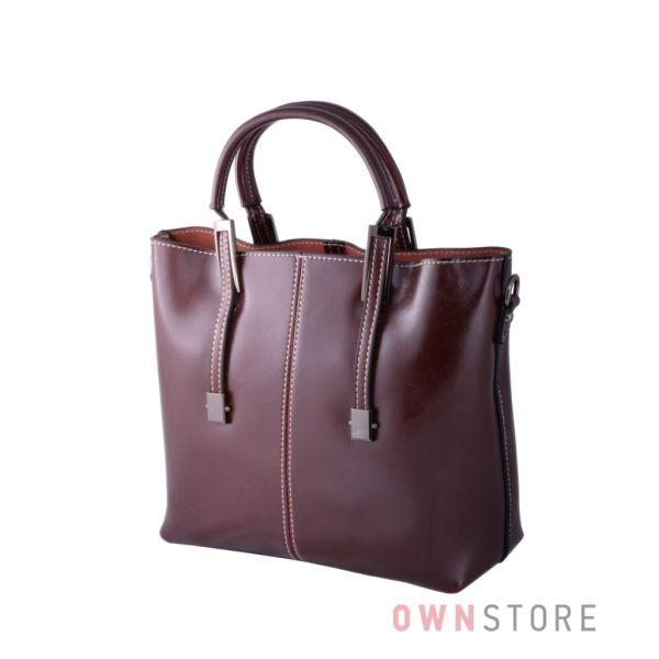 98f8af595233 Купить онлайн сумку женскую кожаную коричневую со строчкой - арт.872