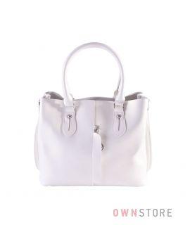 a5d4eb890634 Купить онлайн небольшую белую кожаную женскую сумку с карманом впереди -  арт.8158
