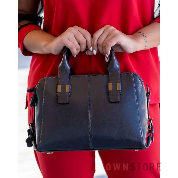 Купить онлайн сумку женскую кожаную серую на три отделения - арт.205