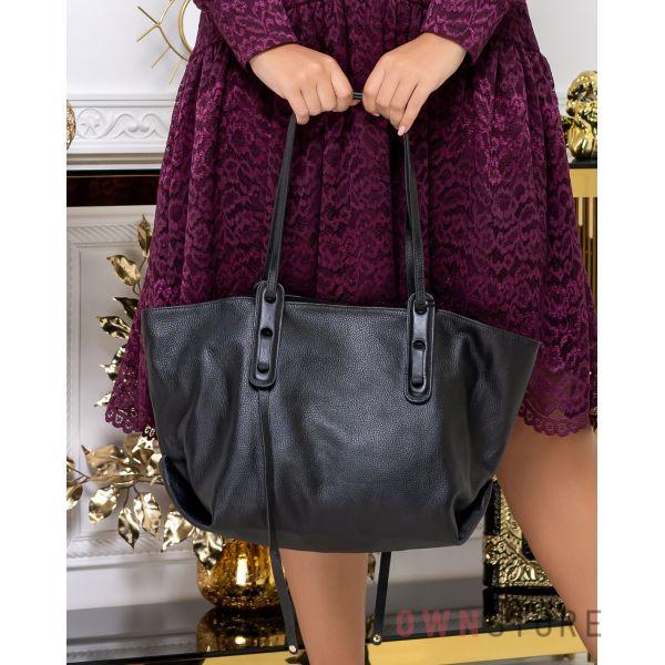 Купить онлайн большую черную женскую кожаную сумка  - арт.2893