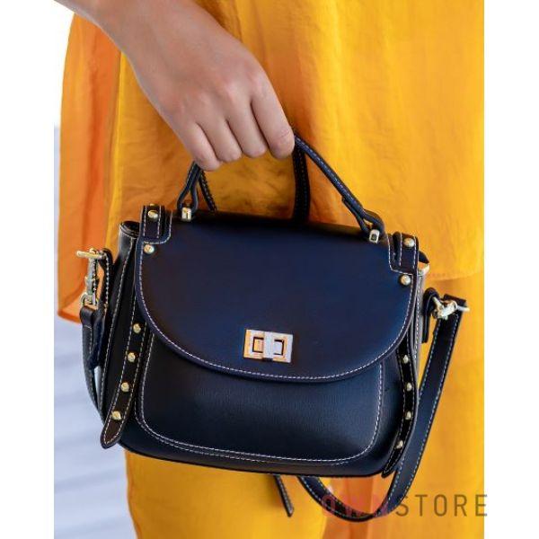 Купить сумочку женскую черную кожаную с заклепками - арт.361