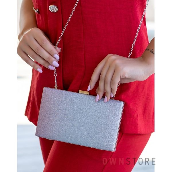 Купить онлайн клатч женский из парчи с серо-розовым омбре - арт.633-3