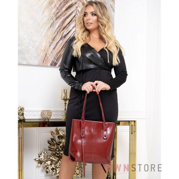 Купить онлайн сумку женскую красную прямоугольную с двумя ручками - арт.66006