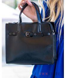 Небольшая черная сумка с ремешком впереди(арт.6607)