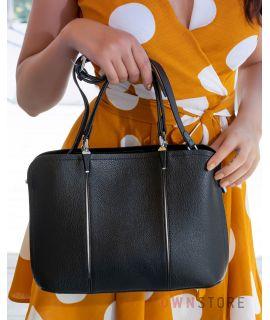 Купить онлайн сумку женскую черную из кожи со складками впереди - арт.66921