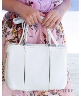 Купить онлайн сумку женскую белую из кожи со складками впереди - арт.66921