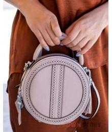 Круглая кожаная сумочка цвета капучино(арт.6900)