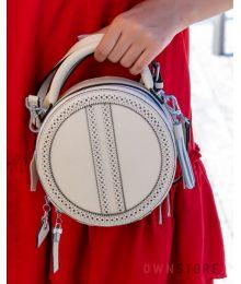 Круглая кожаная бежевая сумочка(арт.6900)