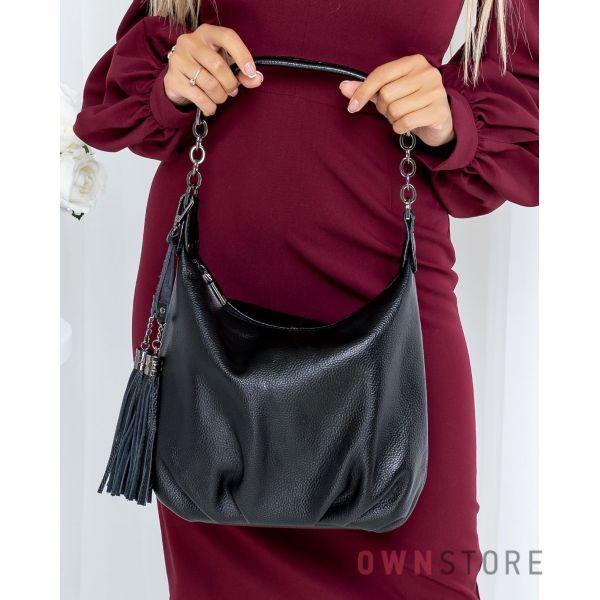 Купить онлайн небольшую черную женскую сумку из натуральной кожи - арт.7130