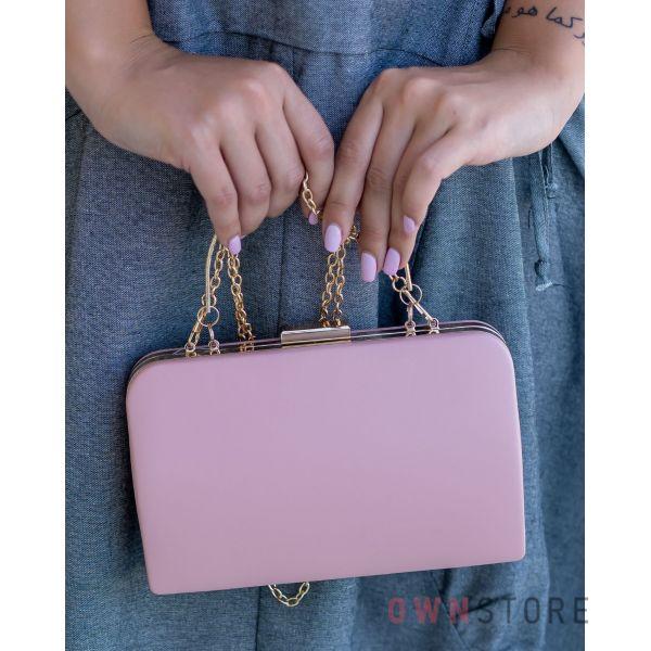 Купить онлайн большой женский персиковый клатч из кожзама - арт.7679