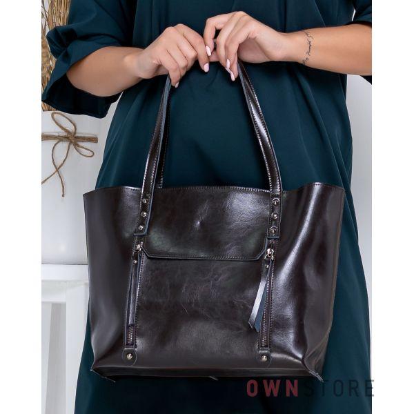 Купить онлайн сумку женскую коричневую кожаную с карманами  - арт.76