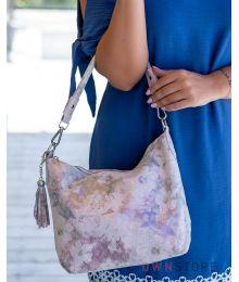 Сумка-мешок нежно-розовая с чешуйками(арт.8062)