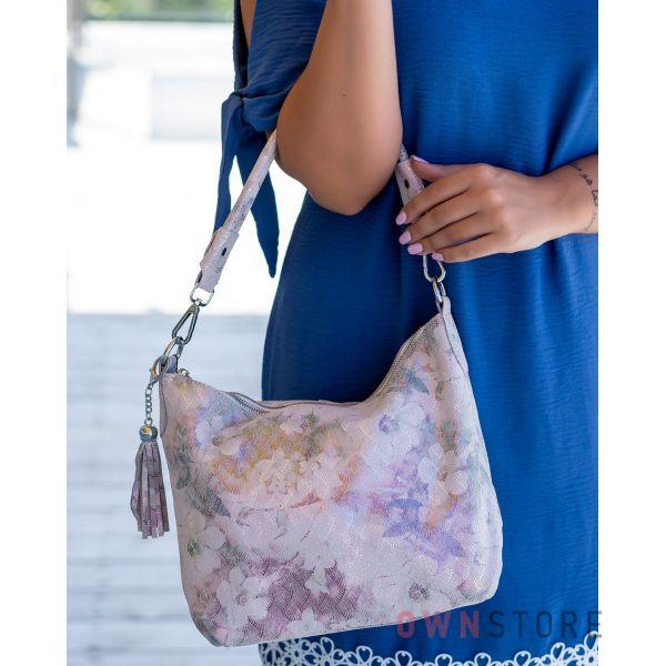 Купить онлайн сумку-мешок женскую нежно-розовую с чешуйками - арт.8062