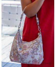 Сумка-мешок кремовая с цветами(арт.8062)