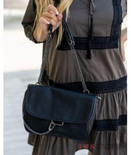 Купить онлайн сумку женскую кожаную черную с ручкой-цепочкой - арт.908