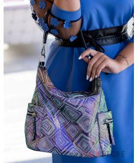 Купить онлайн сумку женскую с карманами из лазера в ромбах черную - арт.923