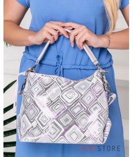 Купить онлайн сумку женскую прямоугольную из лазера в ромбах бежевую - арт.924