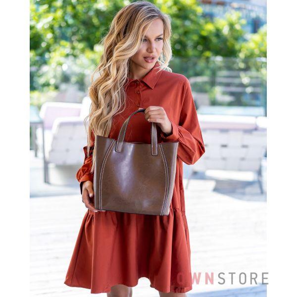 Купить онлайн сумку женскую из натуральной кожи светло-коричневую - арт.99912
