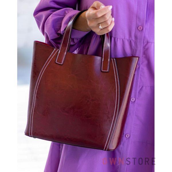 Купить онлайн сумку женскую из натуральной кожи бордовую - арт.99912
