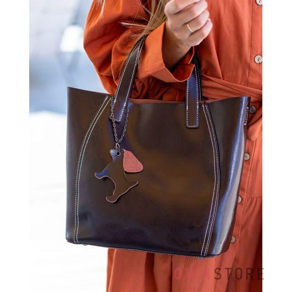 Купить онлайн сумку женскую  из натуральной кожи шоколадную - арт.99912