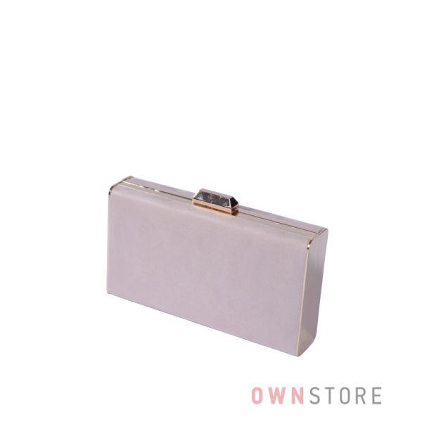 Купить онлайн клатч-коробку бежевый замшевый с золотой фурнитурой - арт.3002