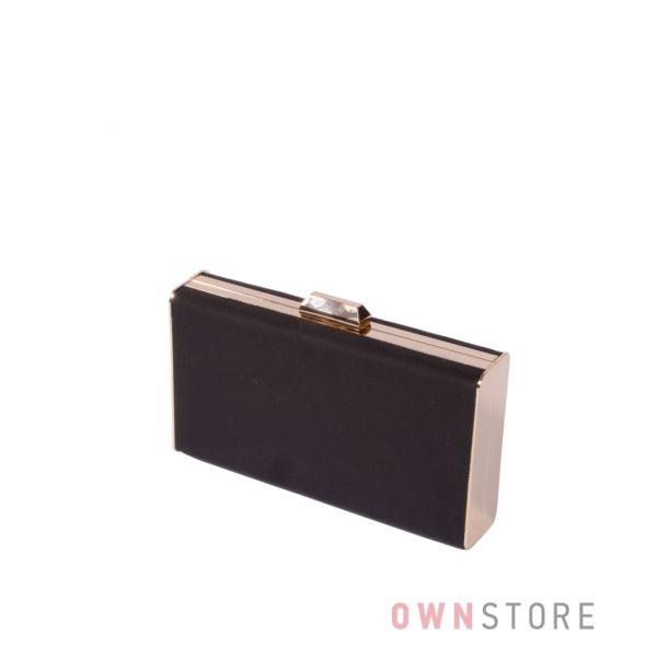 Купить онлайн клатч-коробку черный замшевый с золотой фурнитурой - арт.3002