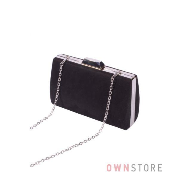 Купить онлайн клатч женский черный замшевый - арт.7559