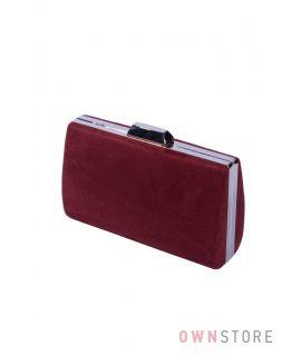 Купить онлайн клатч женский бордовый замшевый - арт.7559