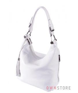 Купить онлайн сумку женскую на два отделения белую кожаную - арт.1871