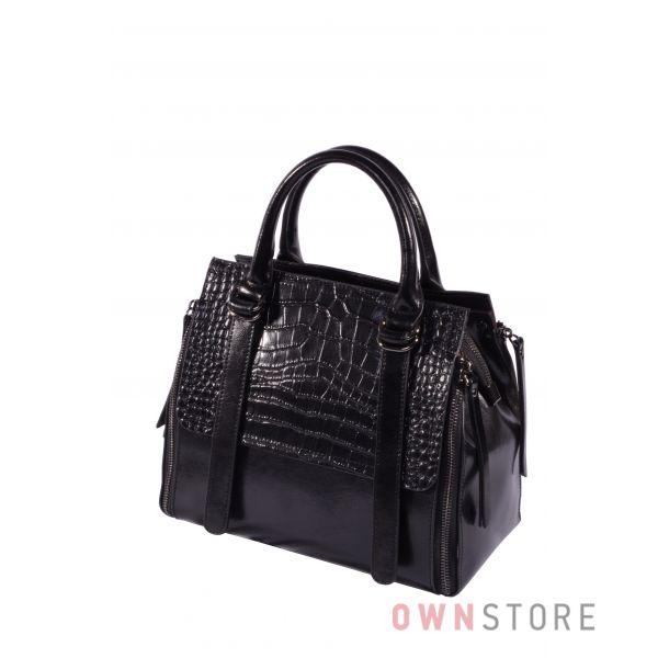 Купить онлайн сумку-саквояж женскую с крокодиловой отделкой - арт.6003