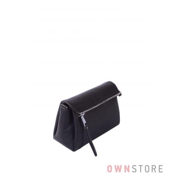 Купить онлайн сумочку женскую на три отделения черную из натуральной кожи - арт.710