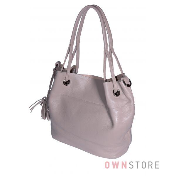 Купить онлайн сумку женскую кожаную розовую на двух ручках - арт.753