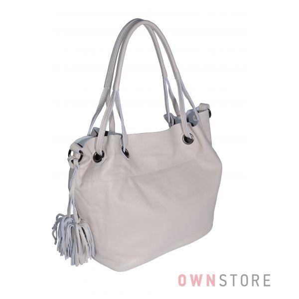 Купить онлайн сумку женскую кожаную бежевую на двух ручках - арт.753