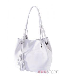 Купить онлайн сумку женскую кожаную белую на двух ручках - арт.753